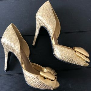 Shoemint Gold Sequin Peep Toe Heels